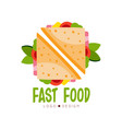 fast food logo design badge with sandwich sign vector image