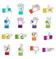 hand gesture icons doodle set vector image vector image