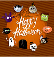 happy halloween card with vampire mummy skull vector image vector image