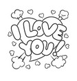 i love you words comic book coloring vector image