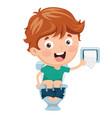 kid at toilet vector image vector image