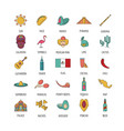 mexico icon set cartoon style vector image vector image