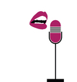 microphone with lips sing vector image vector image