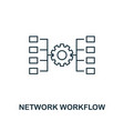 network workflow outline icon thin line style vector image