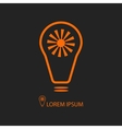Orange bulb with sun as eco energy symbol vector image