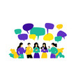 people with phones employees communicate in chat vector image vector image