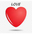 red heart with a glare and shadow vector image vector image