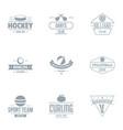 russian hockey logo set simple style vector image vector image