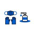 sanitizer wear a face mask gloves vector image vector image