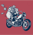 santa claus ride a motorcycle with bunch of vector image
