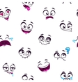 Seamless pattern with funny cartoon faces vector image