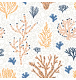seamless pattern with orange and blue corals vector image vector image