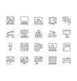 set business presentation line icons assembly vector image