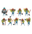 set of funny bald lumberjack in different poses vector image