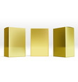 set of small gold cardboard boxes with shadows vector image vector image