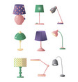set of table lamps of different shapes and colors vector image vector image