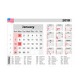 simple calendar 2018 - one year at a glance - vector image vector image