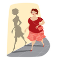 slimming lady and her shadow vector image vector image