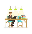 smiling businessman in a suit working with laptop vector image vector image