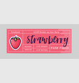 strawberry sticker and eco products strawberry vector image