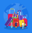 travel luggage vacation suitcases with tourists vector image vector image