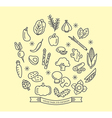Vegetable line icons with outline style design vector image vector image