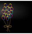Vibrant colorful balloons with bow vector image vector image