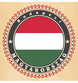 vintage label cards hungary flag vector image vector image