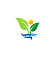 wellness people logo concept plant and sun nature vector image vector image