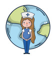 woman doctor and medical cartoons vector image
