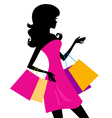 Woman shopping silhouette vector