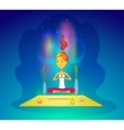Girl or woman meditating in yoga pose vector image