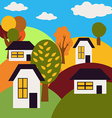 Autumn Landscape Village on Hills with Houses and