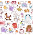 Baby icons seamless pattern vector image vector image