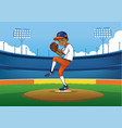 baseball pitcher ready to throwing the ball vector image vector image