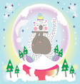 Bear snow in the garden vector image