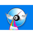 Bingo ball with wings rainbow and sample text vector image vector image