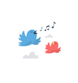 Blue and red small birds flying in the sky vector image
