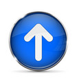 blue up button with white arrow shiny 3d icon