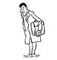 businessman standing with briefcase in gloves vector image vector image