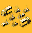 cargo truck and loading machines line set vector image