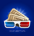 cinema art movie watching - 3d glasses and tickets vector image