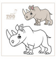 cute cartoon little rhinoceros color and outlined vector image vector image