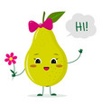 cute pear green cartoon character with a pink bow vector image vector image