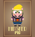 funny hipster pig vector image