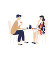 funny young man and woman sitting at table vector image vector image
