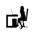girl front the laptop silhouette vector image vector image