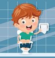 kid at toilet vector image