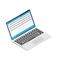 laptop with open window on display vector image vector image