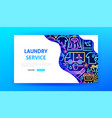 laundry service neon landing page vector image vector image